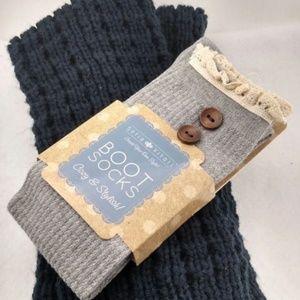 Blue Leg Warmers & Button Up Boot Socks